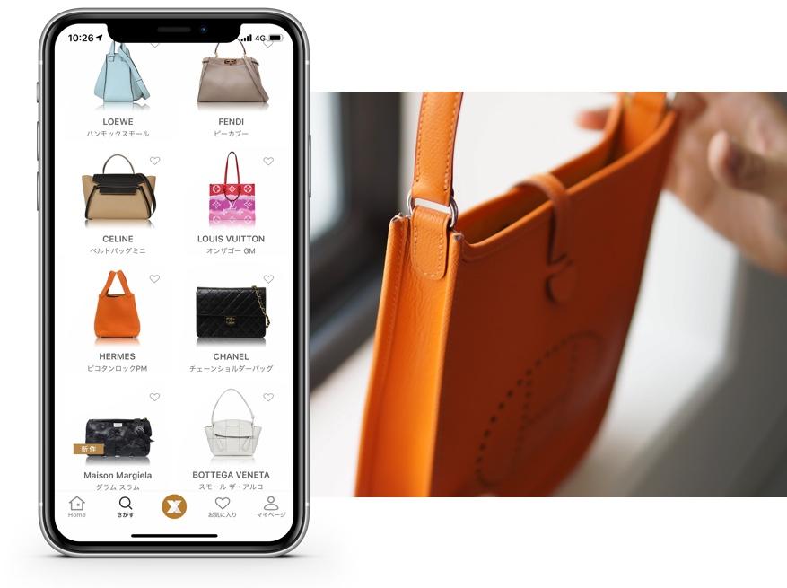 スマートフォンとバッグの写真